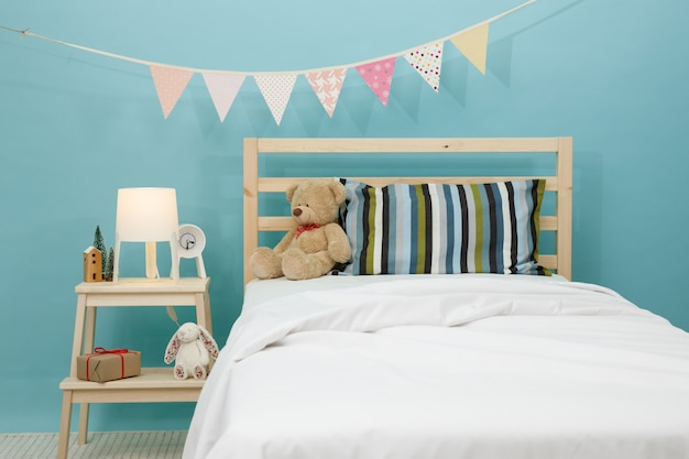 The bedroom for child, modern blue bedroom for kid Premium Photo