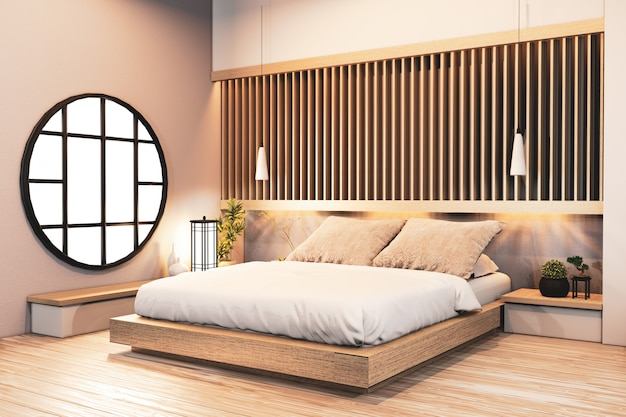 Bedroom design japanese wooden with battens and hidden light wall design.3d rendering