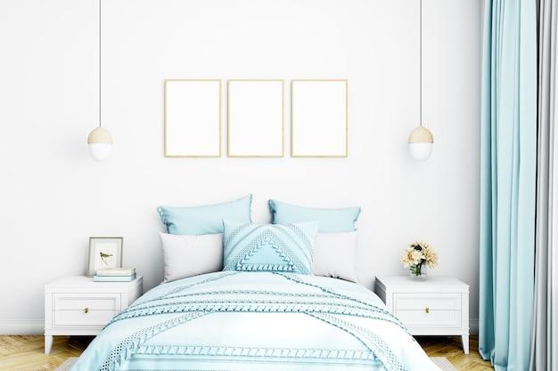 블루 색상의 침실 프레임 모형