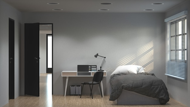 Bedroom has a working desk 3d illustration and sunlit concept,clean modern apartment.