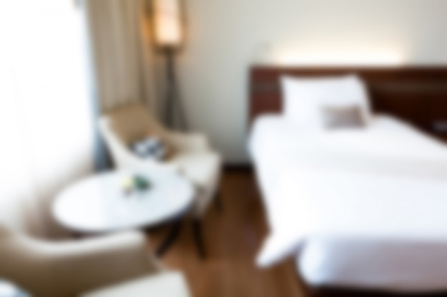 Bedroom of a hotel out of focus