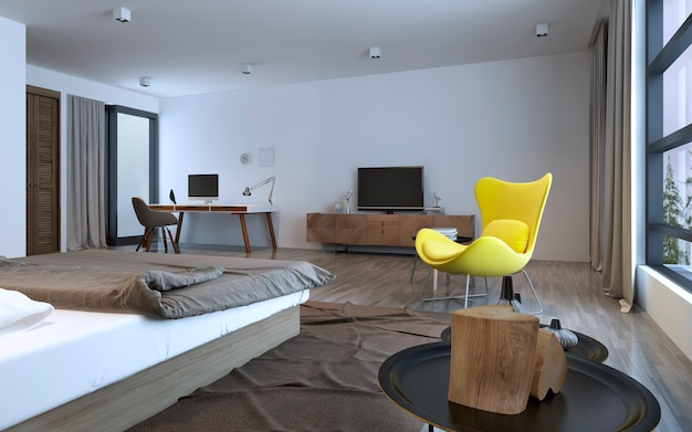 Bedroom idea: minimalist interior. brown furniture and white walls, bright yellow chair on center of room, decorations. inspiration. 3d render
