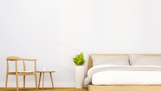 아파트 또는 호텔의 침실.
