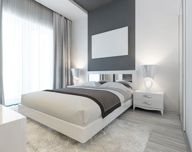 흰색과 회색 색상의 아트 데코 스타일의 침실. 침대 협탁과 야간 램프가있는 현대적인 침대는 신중하게 배치되었습니다. 벽에 모형 포스터. 3d 렌더링.