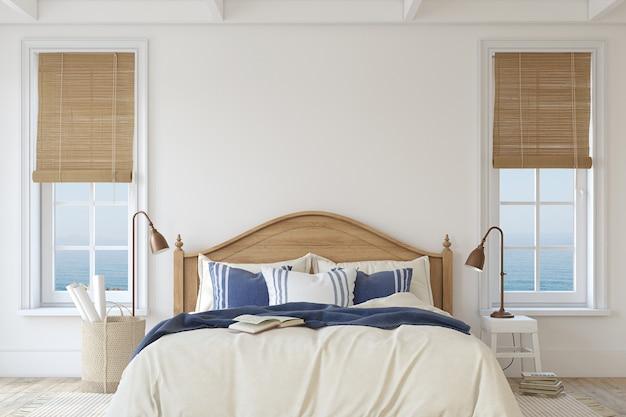 해안 스타일의 침실. 인테리어 모형. 3d 렌더링.