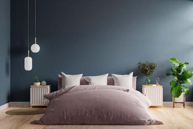 Interno della camera da letto in stile scuro, mockup di parete blu scuro. rendering 3d
