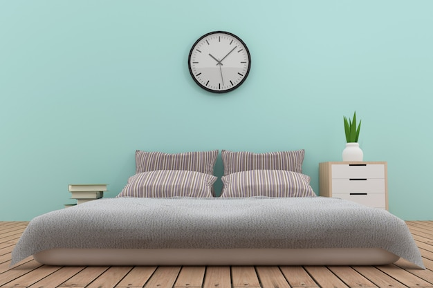 Bedroom interior design in blue tone in 3d rendering