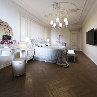 모던 클래식 스타일의 침실 인테리어 디자인. 3d 렌더링