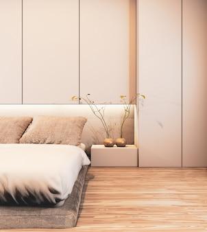 Bedroom interior design with wall deisgn hidden light on floor wooden.3d rendering