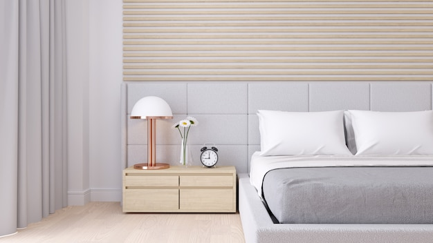 Bedroom interior dssign with modern minimalist style.