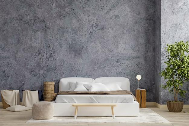 Interno della camera da letto in stile fattoria, mockup di muro di cemento, rendering 3d