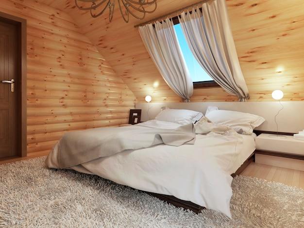 지붕 창문이있는 다락방 바닥에 로그에 침실 인테리어