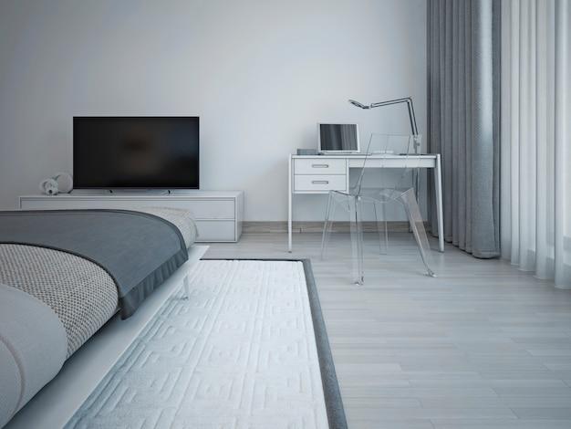 Интерьер спальни в стиле минимализма с серыми стенами, тв-столиком и белым туалетным столиком.