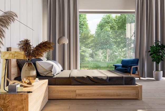 Bedroom interior and living area on nature mockup in farmhouse style.3d rendering