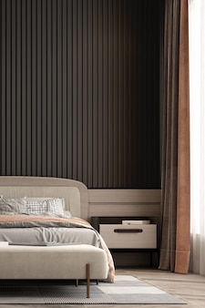 The bedroom interior mock up, grey bed on empty wooden wall background, scandinavian style, 3d render
