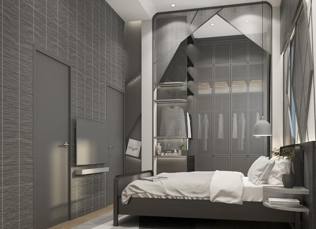 寝室インテリアモダンナチュラルスタイル3 dレンダリング