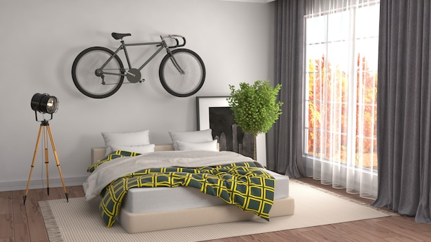 Bedroom interior rendered illustration