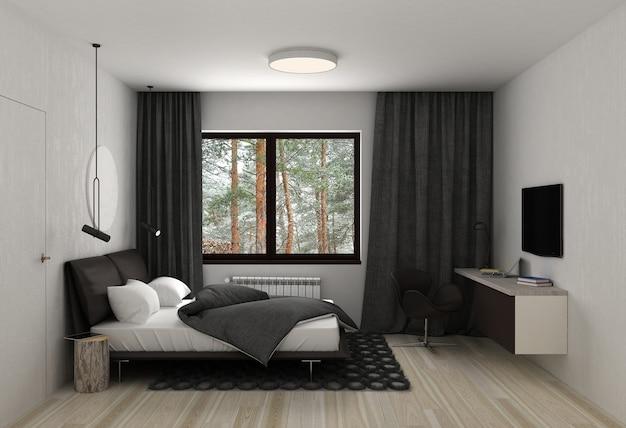 Спальня, визуализация интерьера, 3д иллюстрация