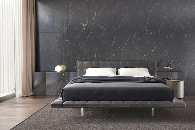 Интерьер спальни с черной мраморной настенной лампой и деревянным полом