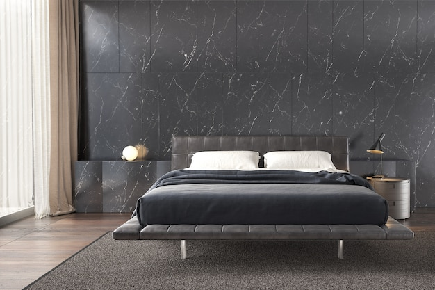 Bedroom interior with black marble wall pattern  side table lamp and wooden floor