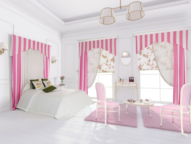 Bedroom interior with decoration