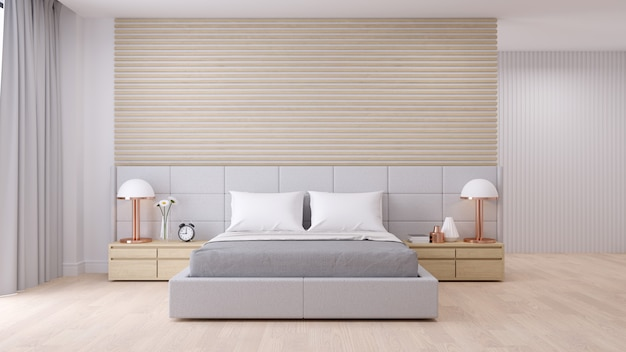 Bedroom interior with modern minimalist style