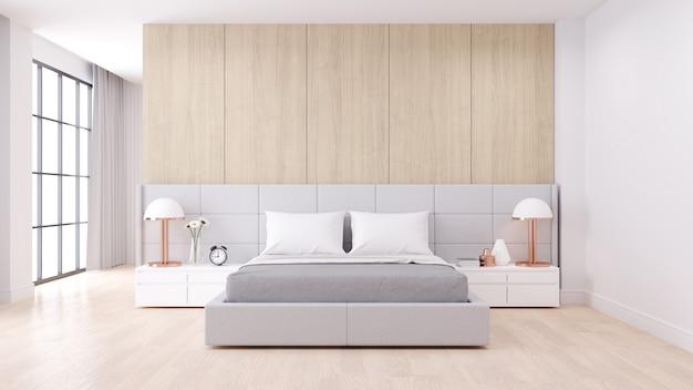 Bedroom interior with modern minimalist style