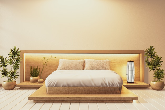 Bedroom japanese style and wall hiden light  with plants and lamp decoration on tatami mat floor