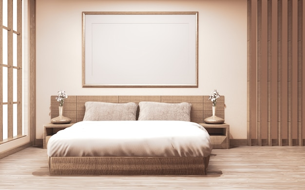 Bedroom japanese style with plants and lamp decoration on wooden floor.3d rednering