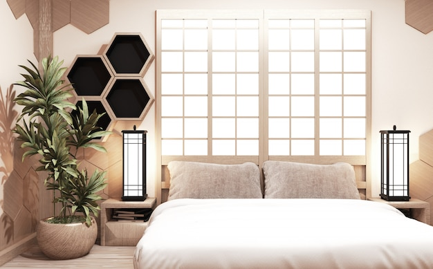 Bedroom in japanese style with plants, lamps and hexagonal shelves