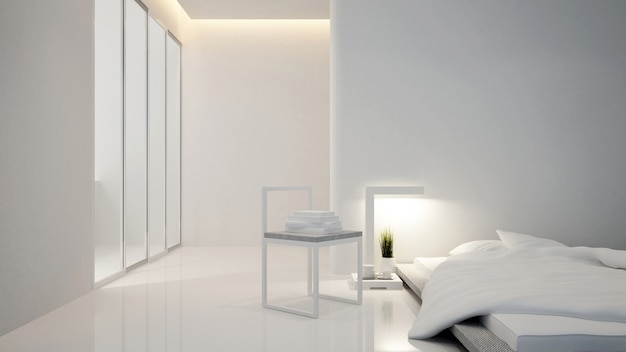 Bedroom and living area in hotel or house - interior design - 3d