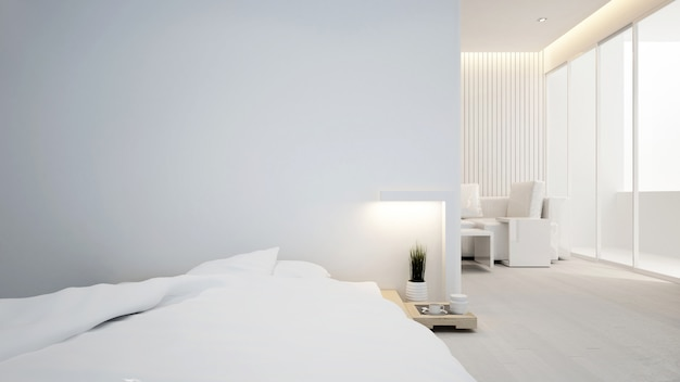 Bedroom and living room in apartment or hotel - interior design