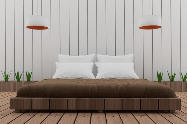 Bedroom in loft design in 3d render