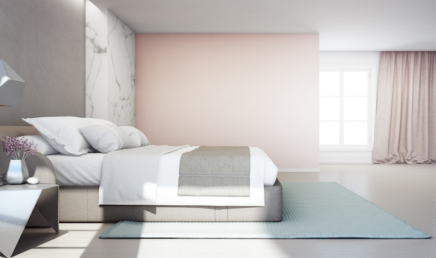 Bedroom of luxury house with double bed and carpet on wooden floor.