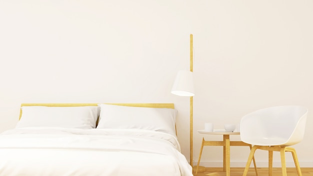 Bedroom minimal design - 3d rendering