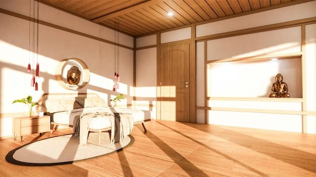 Спальня макет с деревянной кроватью в японии минимальный дизайн. ,