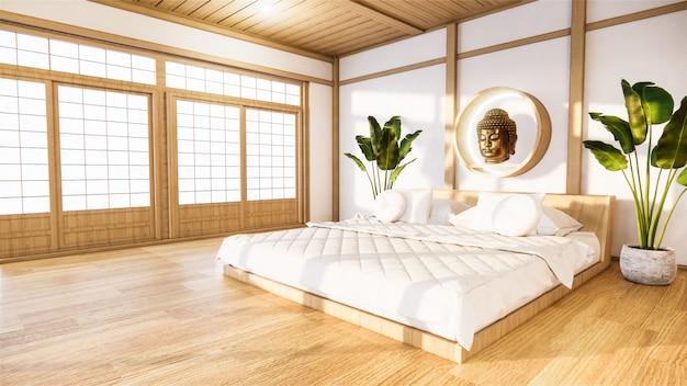 Bedroom mock up with wooden bed in japan minimal design. .