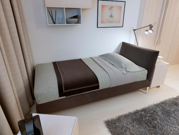 Bedroom in modern design with bedside table.