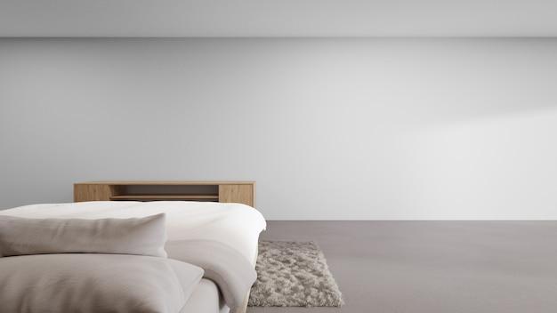 Спальня современного чистого дома с тумбой под телевизор