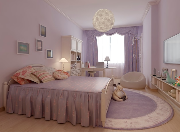 Bedroom provence style in purple.