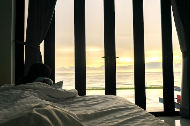 Bedroom and sea view a women morning sun