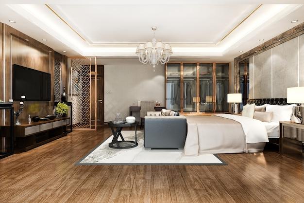 Спальня с телевизором со шкафом, гардеробной и рабочим столом
