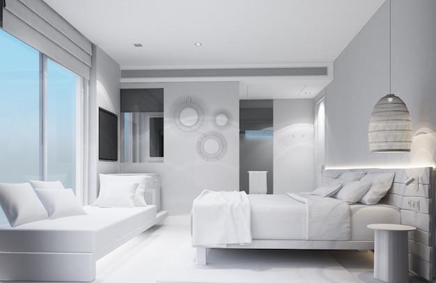 Спальня в тропическом азиатском стиле с деревянной и бетонной стеной 3d рендеринга
