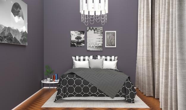 寝室の視覚化。 3 dイラスト
