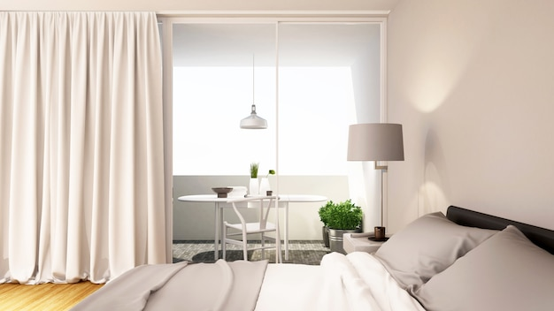 Bedroom white tone clean design - 3d rendering