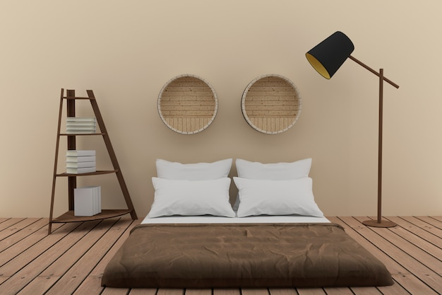 Bedroom with bookshelf in soft room tone design in 3d rendering