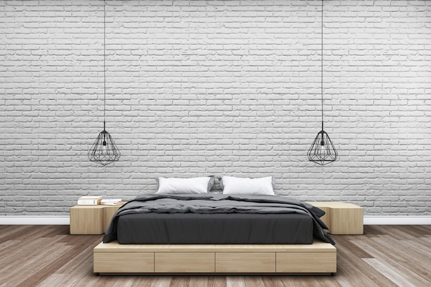 Bedroom with brick wall and modern bedside lamp