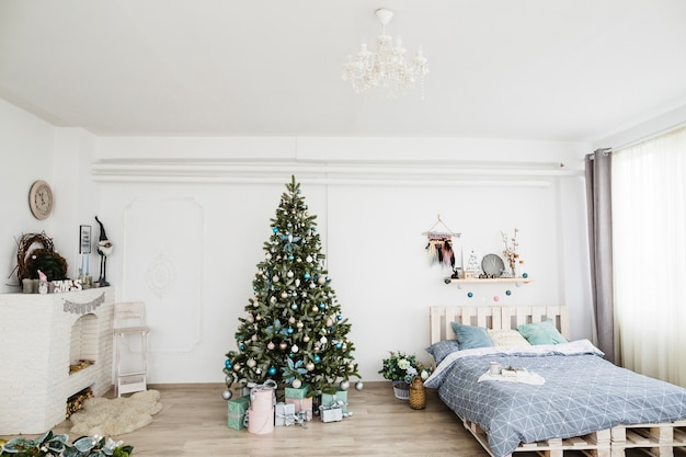 Bedroom with christmas decoration
