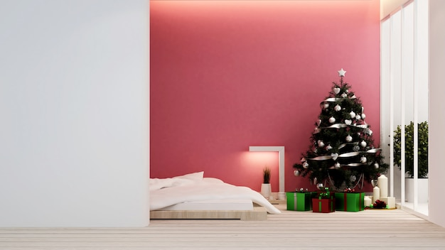 Bedroom with christmas tree in home or apartment - interior design - 3d rendering