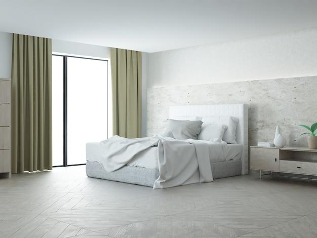 Спальня с бетонной стеной и старым школьным паркетным деревянным полом
